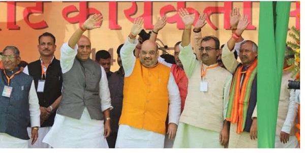 भाजपा के आला नेताओं के साथ जनार्दन सिग्रीवाल